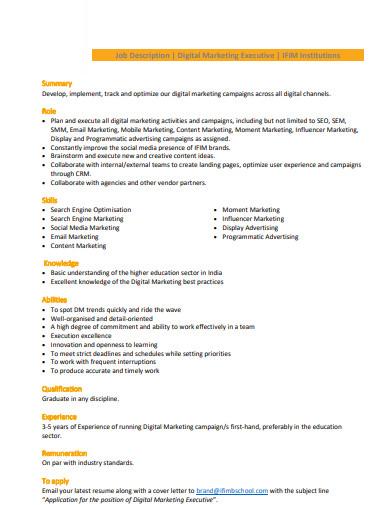 digital marketing executive job description format