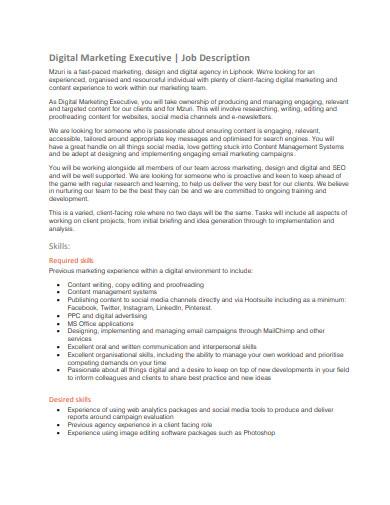 digital marketing executive job description sample