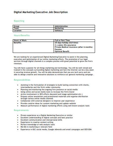 digital marketing executive job description