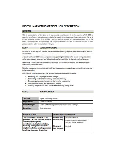 digital marketing officer job description example