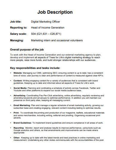 digital marketing officer job description
