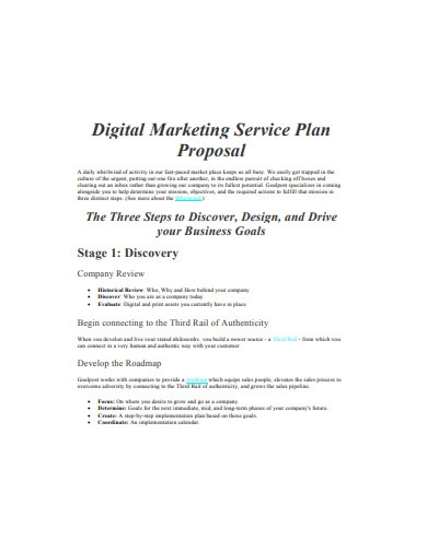 digital marketing service plan