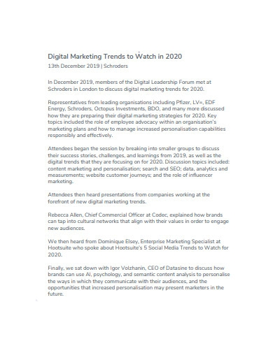 digital marketing session report