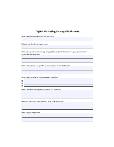 digital marketing strategy worksheet