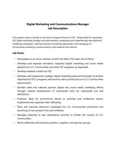 digital marketing and communications manager job description