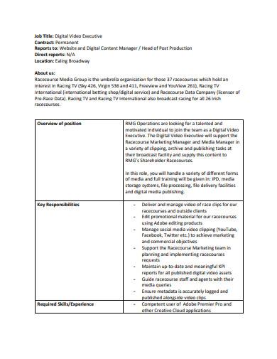 digital video executive contract