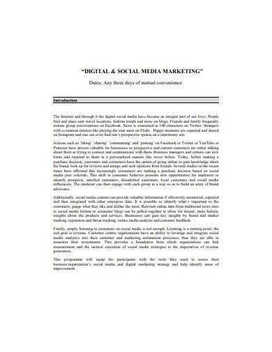 digital and social media marketing format