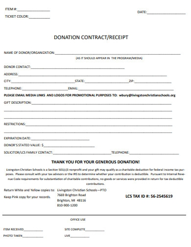 donation contract receipt