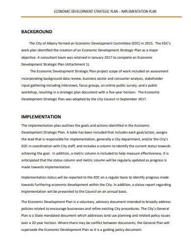 economic development strategy implementation plan