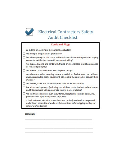 electrical contractors safety audit checklist