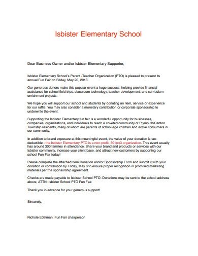 elementary school donation letter