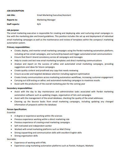 email marketing executive job description