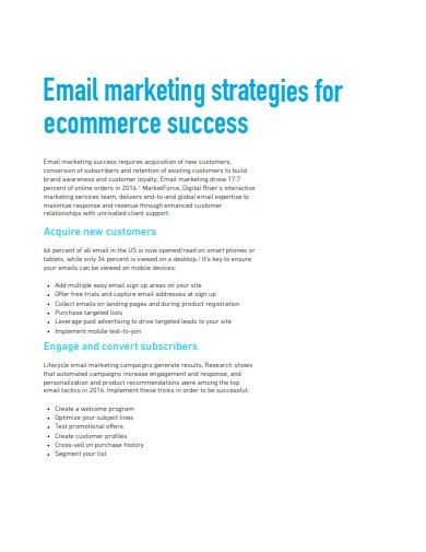 email marketing strategy format