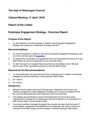 employee engagement strategy report