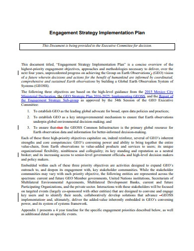 engagement strategy implementation plan