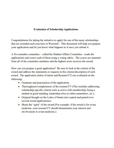 evaluation of scholarship application