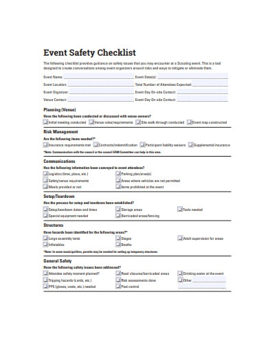 event safety checklist