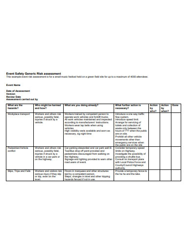 event safety generic risk assessment