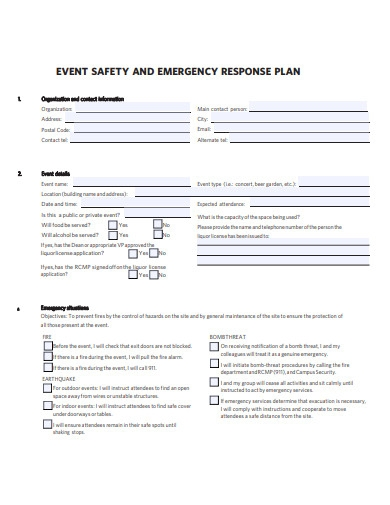event safety and emergency response plan