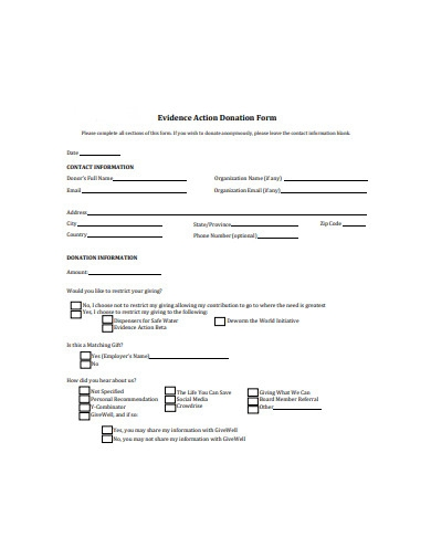 evidence action donation form