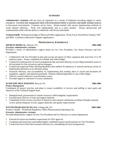 executive administrative resume format