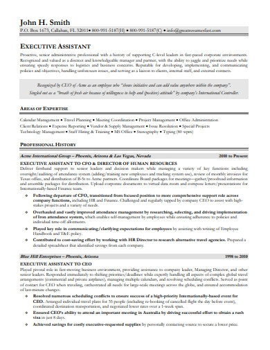 executive assistant resume format