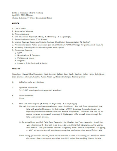 executive board meeting agenda format