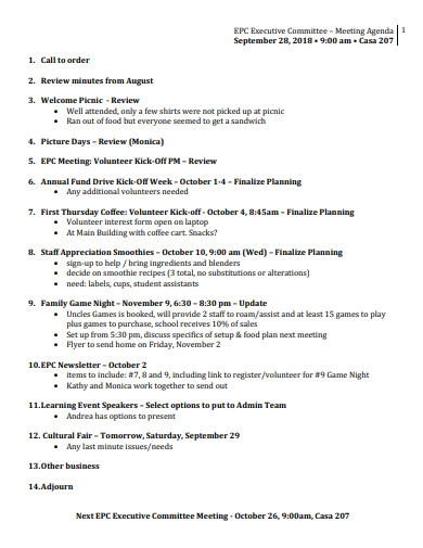 executive committee meeting agenda example