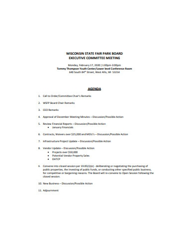 executive committee meeting agenda in pdf