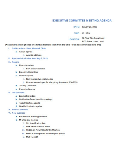 executive committee meeting agenda