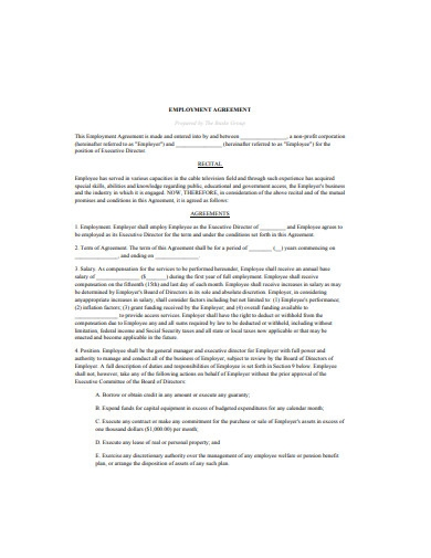 executive director employment agreement