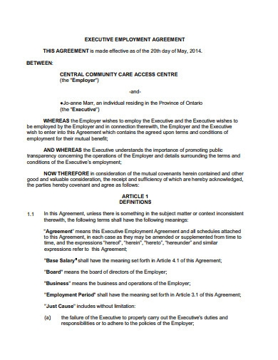 executive employment agreement format