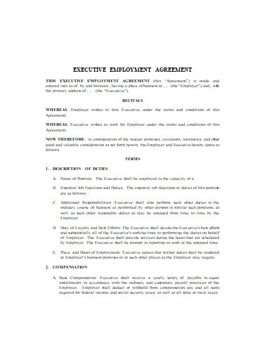 executive employment agreement in doc