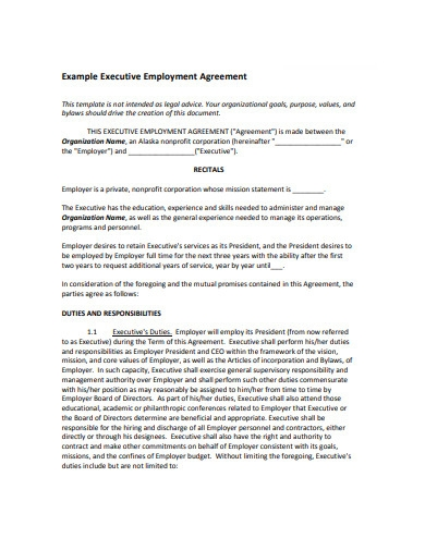 executive employment agreement in pdf
