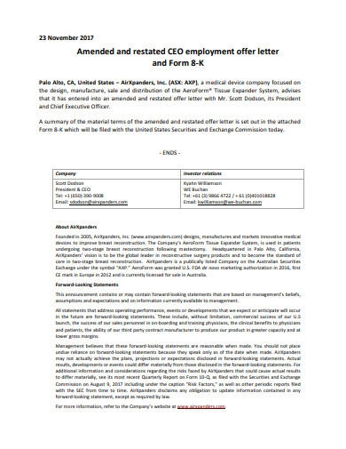 executive employment offer letter sample