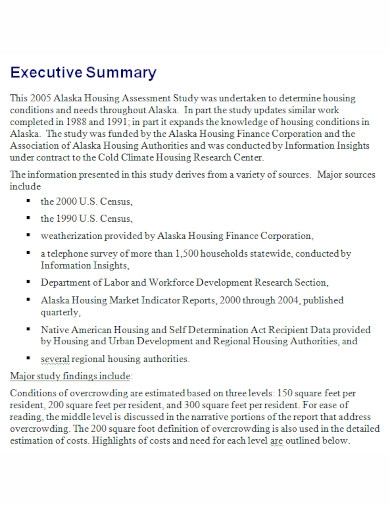 executive summary assessment
