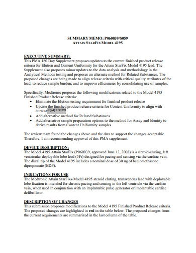 executive summary memo format