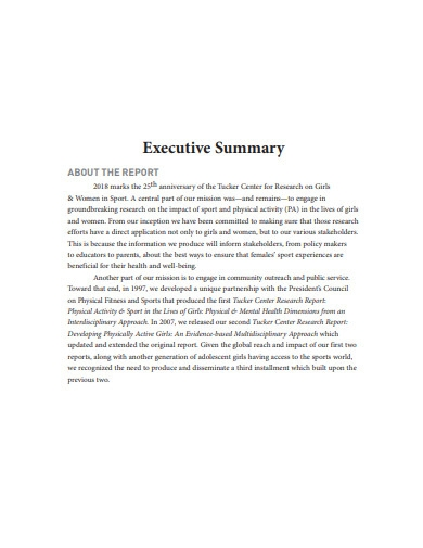 executive summary report format
