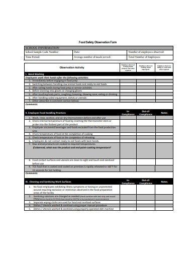 food safety observation form