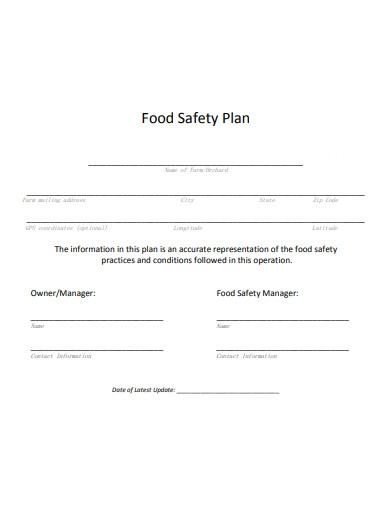 food safety plan example