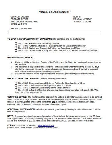 formal temporary guardianship letter