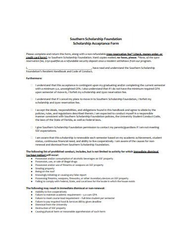 foundation scholarship acceptance form