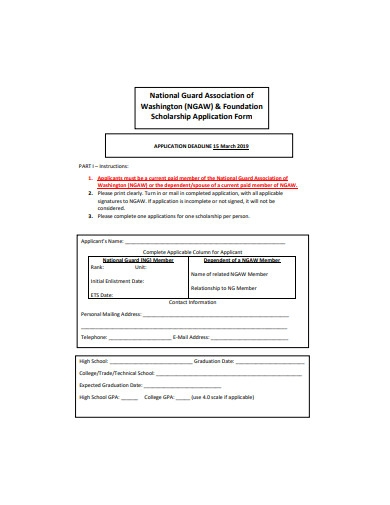 foundation scholarship application form example