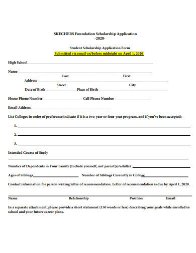 foundation scholarship application form sample