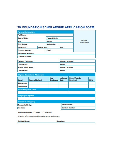 foundation scholarship application form
