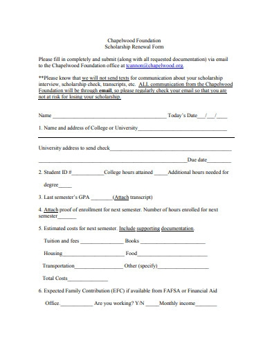 foundation scholarship renewal form
