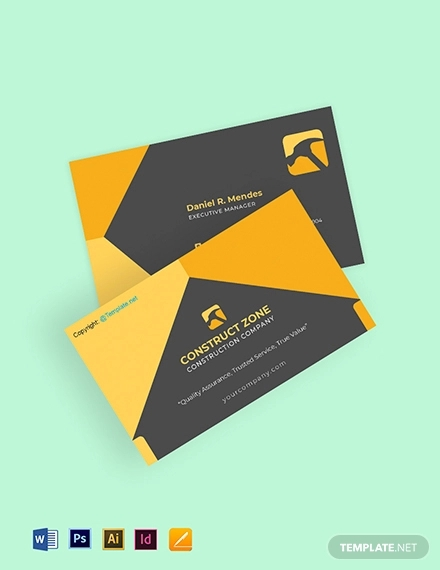 free basic construction business card template