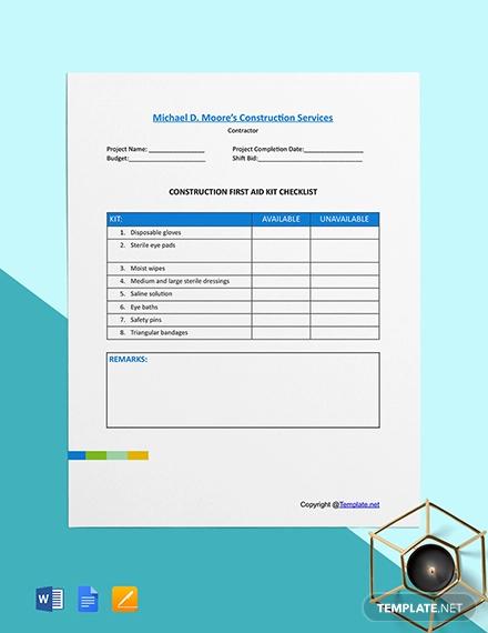 free basic construction checklist template