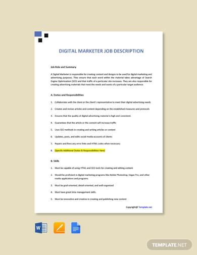 free digital marketing job description template