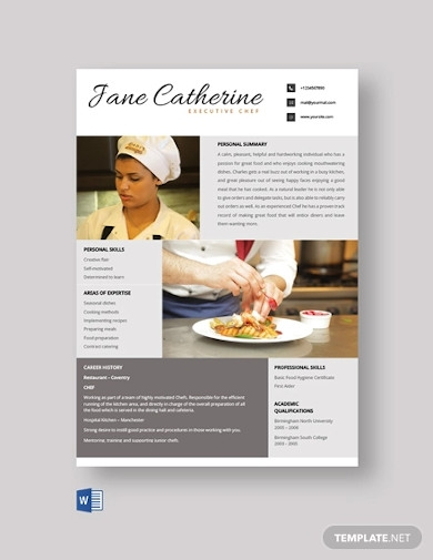free executive chef resume template